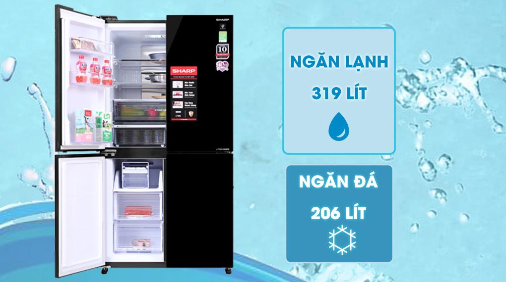Tủ lạnh Sharp SJ-FXP600VG-BK sở hữu dung tích 520 lít, phù hợp gia đình từ 4 - 5 người
