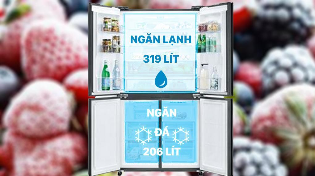 Tủ lạnh Sharp SJ-FXP600VG-MR sở hữu dung tích 525 lít, phù hợp gia đình đông thành viên (4 - 5 người)