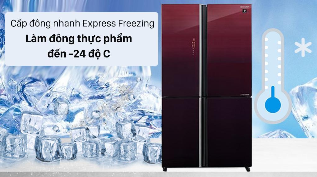 Tủ lạnh Sharp SJ-FXP600VG-MR có thể làm đông thực phẩm đến -24 độ C với cấp đông nhanh Express Freezing