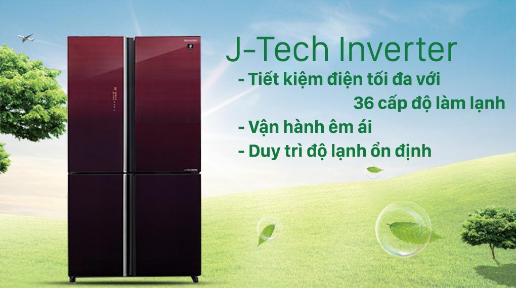 Tủ lạnh Sharp SJ-FXP600VG-MR sẽ hoạt động ổn định, êm ái và rất tiết kiệm điện năng nhờ công nghệ J-Tech Inverter