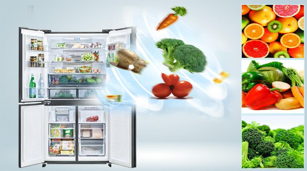 Tủ lạnh Sharp SJ-FXP600VG-MR với ngăn trữ rau quả Moisture Capsule cho rau, củ, quả của bạn luôn tươi ngon dài ngày
