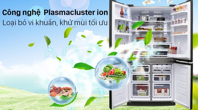 Tủ lạnh Sharp SJ-FXP640VG-BK nhờ có công nghệ độc quyền Plasmacluster ion nên có khả năng diệt khuẩn tối đa