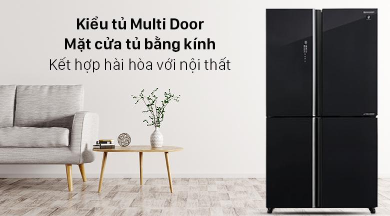 Tủ lạnh Sharp SJ-FXP640VG-BK mang đến cho bạn mẫu thiết kế tinh tế, mặt cửa tủ bằng kính tạo điểm nhấn cho không gian