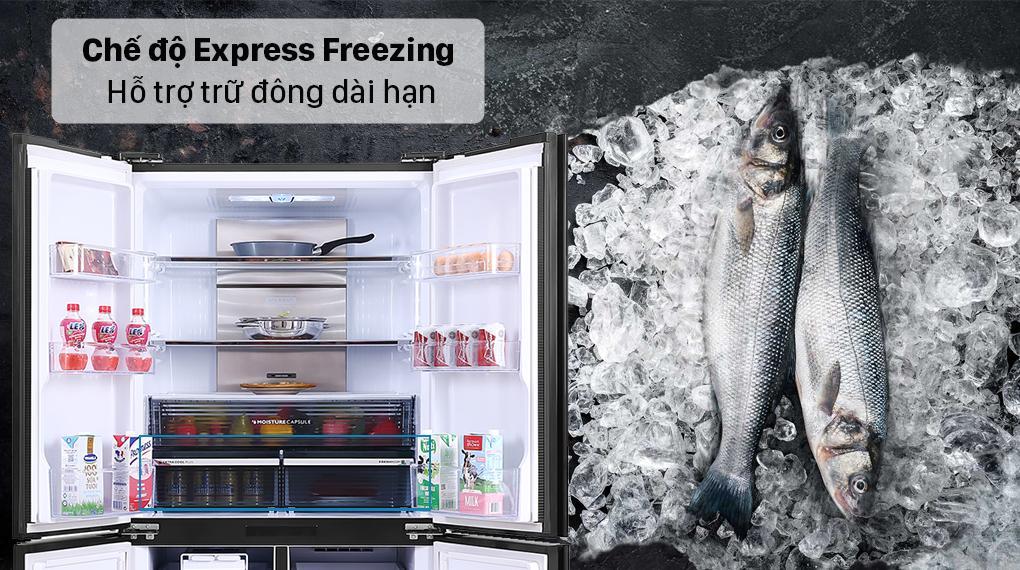 Tủ lạnh Sharp SJ-FXP640VG-MR với chế độ Express Freezing giữ cho thực phẩm luôn tươi ngon với ngăn nhiệt độ - 24 độ C