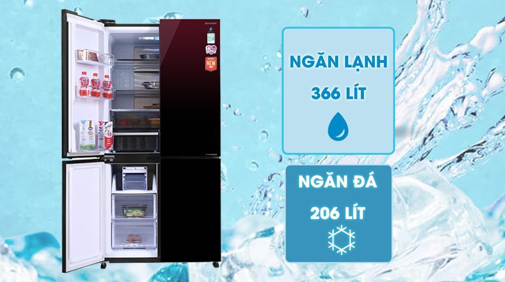 Tủ lạnh Sharp SJ-FXP640VG-MR sở hữu Dung tích sử dụng 572 lítphù hợp với gia đình trên 5 thành viên
