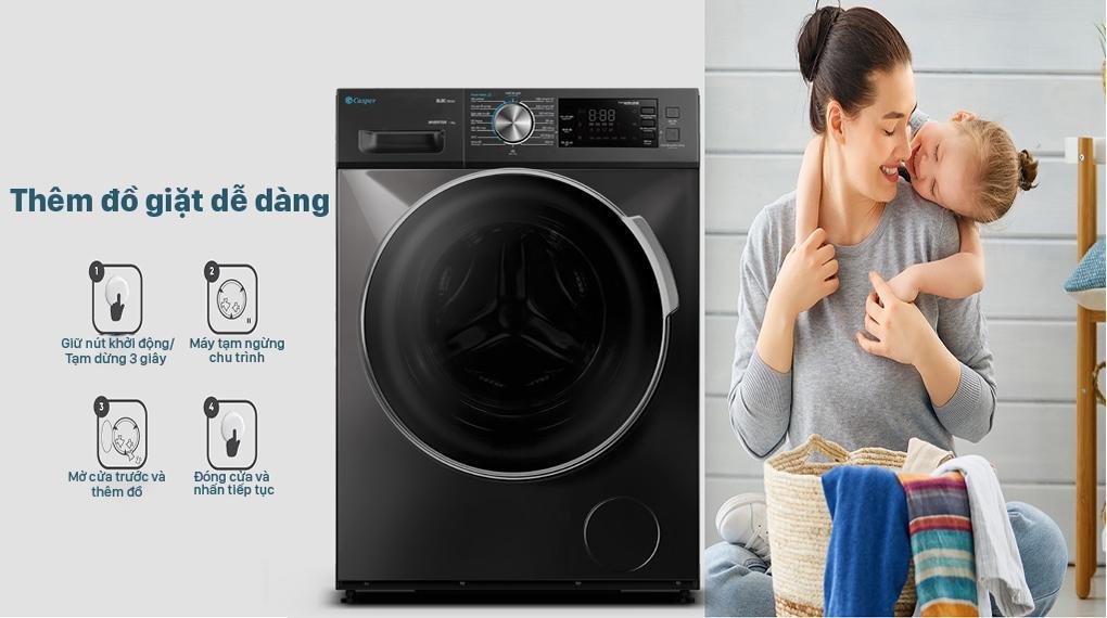 Đánh giá tiện ích thêm đồ trong khi giặt của Máy giặt Casper WF-85I140BGB
