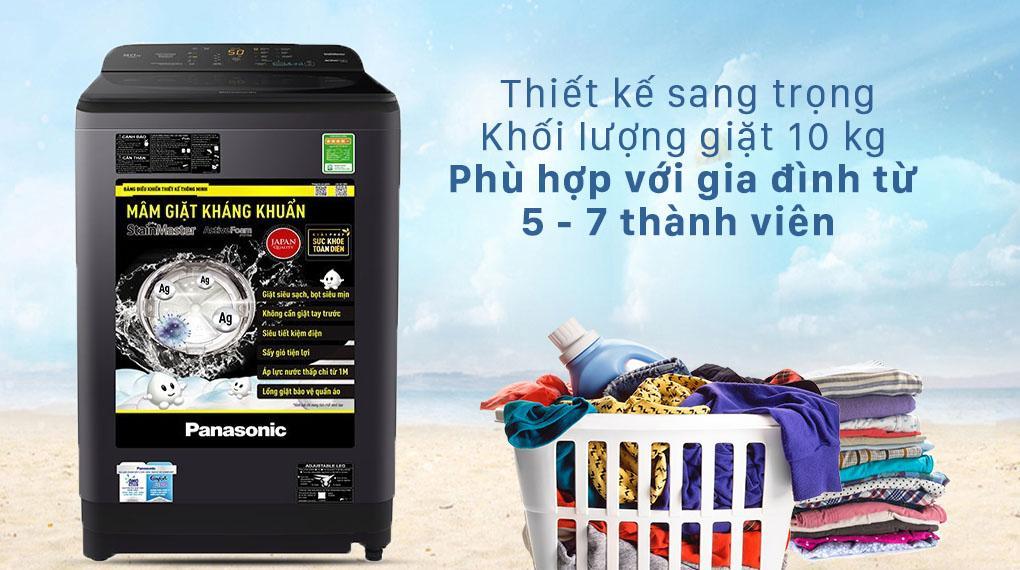 Máy giặt Panasonic NA-F100A9BRV mang đến cho bạn chiếc máy giặt sang trọng và khối lượng giặt hợp lý