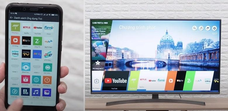 Tivi LG 65NANO95TNA kết nối với điện thoại đơn giản qua LG TV Plus