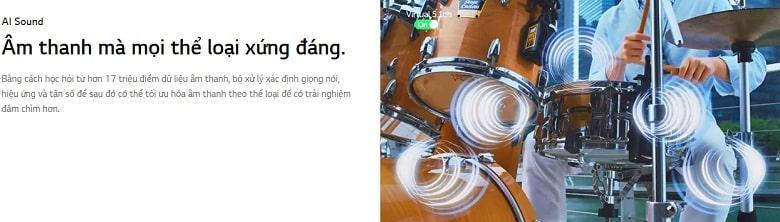 Tivi LG 55NANO80TPA mang đến âm thanh hơn 17 triệu điểm dữ liệu