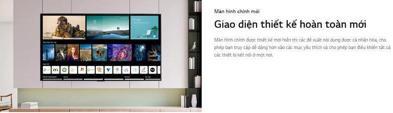 Tivi LG 55NANO80TPA giao diện thiết kế hoàn toàn mới