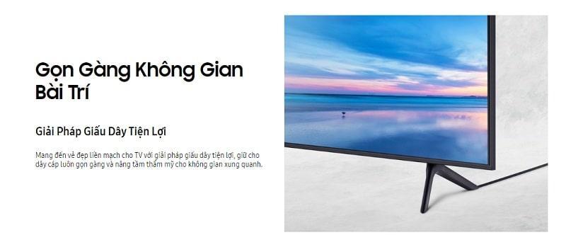 Tivi Samsung 55AU7700 gọn gàng không gian bài trí