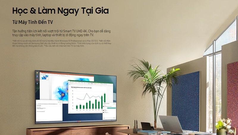 65AU7700 học và làm việc ngay tại nhà với tivi thông minh