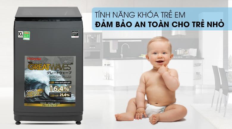 Nếu gia đình bạn có trẻ con thì chức năng khóa trẻ em trên Máy giặt Toshiba AW-DUK1150HV (MG) giúp bạn yên tâm tuyệt đối khi sử dụng