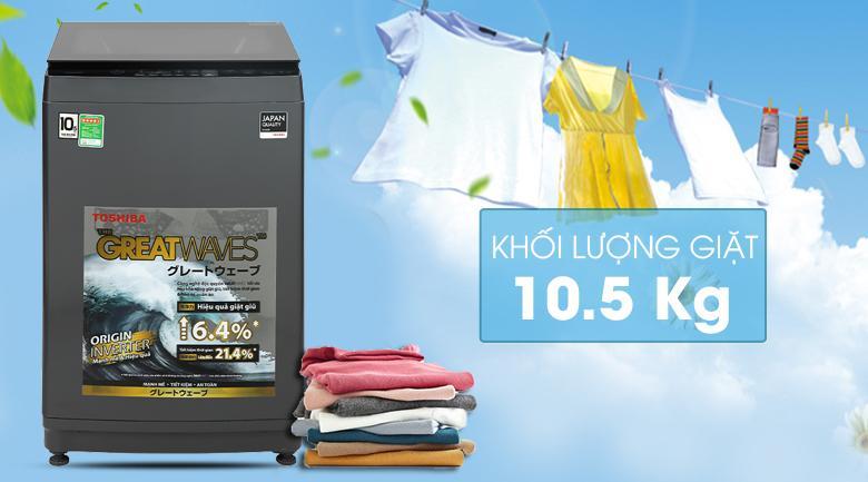 Sở hữu Khối lượng giặt 10.5 kg, phù hợp cho gia đình trên 7 người