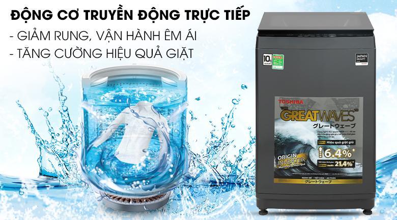 Máy giặt Toshiba AW-DUK1150HV (MG) trang bịđộng cơ truyền động trực tiếp nên hoạt động rất êm, nhưng hiệu quả giặt cải thiện đáng kể
