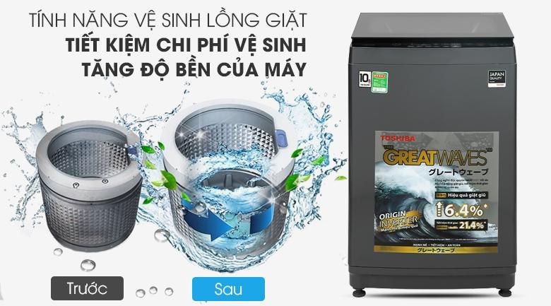 Các bạn sẽ thấy chức năng tự vệ sinh lồng giặt vô cùng tiện lợi giúp kéo dài tuổi thọ sử dụng