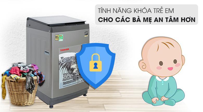 Máy giặt AW-UK1150HV (SG) chắc chắn khiến nhiều bà mẹ yên tâm hơn với tính năng khóa trẻ em an toàn