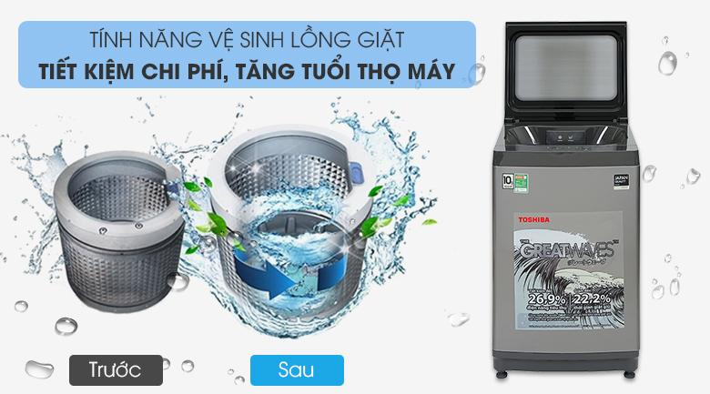 Máy giặt Toshiba AW-UK1150HV (SG) mang đến cho bạn tính năng tự vệ sinh lồng giặt I-Clean vô cùng hiệu quả - tiết kiệm thời gian và chi phí sử dụng