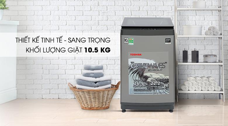 Máy giặt Toshiba AW-UK1150HV (SG) có khả năng giặt khối lượng giặt 10.5 kg thích hợp cho gia đình 7 người