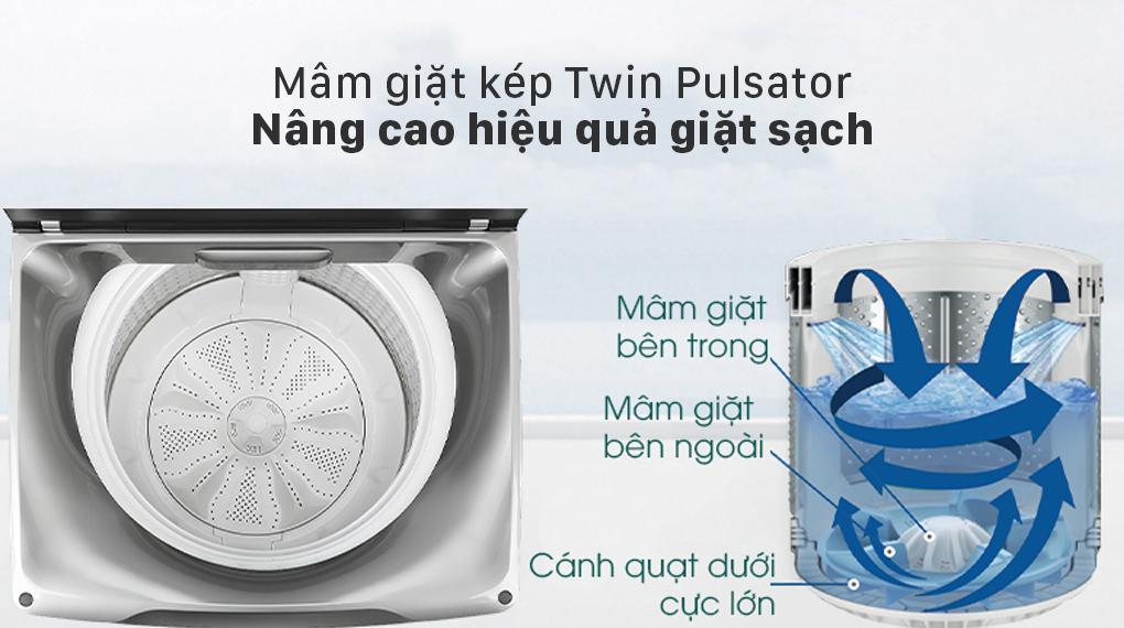 Máy giặt Aqua AQW-FW120GT BK trang bị mâm giặt kép Twin Pulsatorcho hiệu quả giặt sạch vượt trội