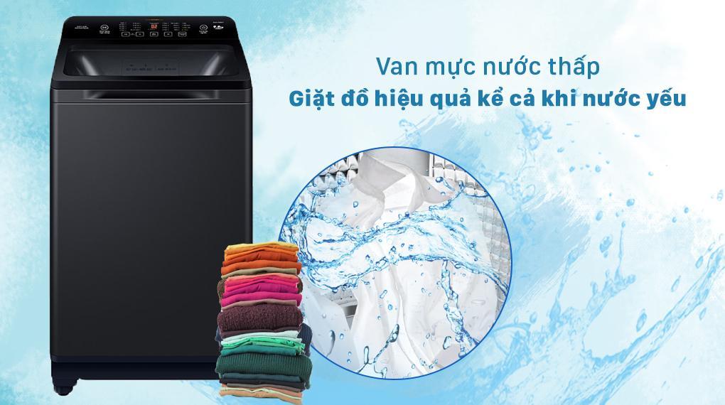 Máy giặt Aqua AQW-FR88GT BK có thể đóng mở van cấp nước ngay cả khi mực nước thấp vận hành máy khi nước yếu