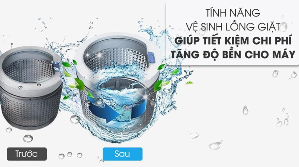 Máy giặt Aqua AQW-FW120GT.BK sở hữu chế độ tự vệ sinh lồng giặt tiêu diệt gọn vi khuẩn và nấm mốc