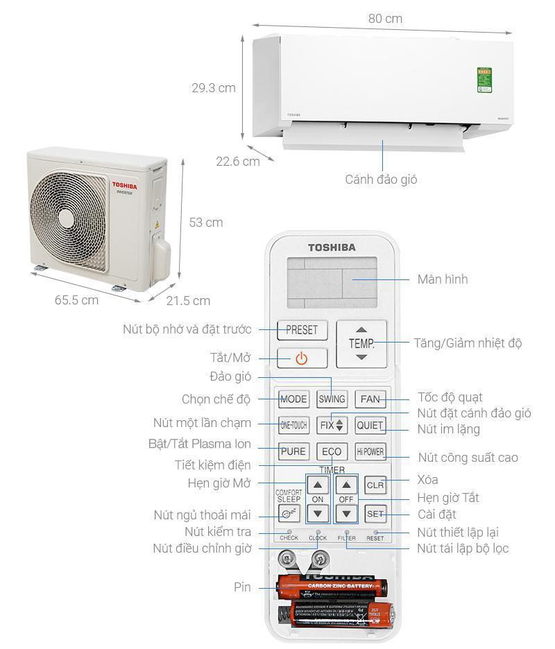 Điều hoà Toshiba RAS-H10E2KCVG-V Inverter 9000BTU