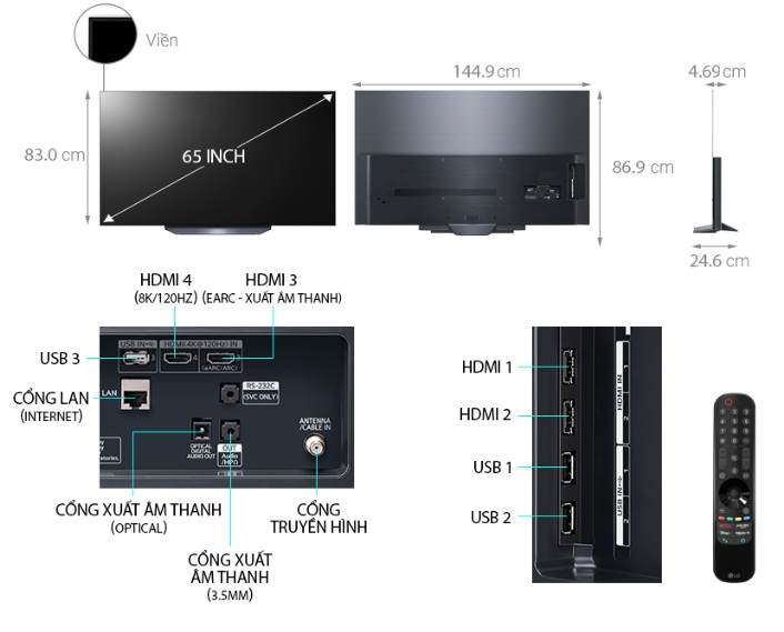 Tivi OLED LG 65B1 mô tả chi tiết sản phẩm