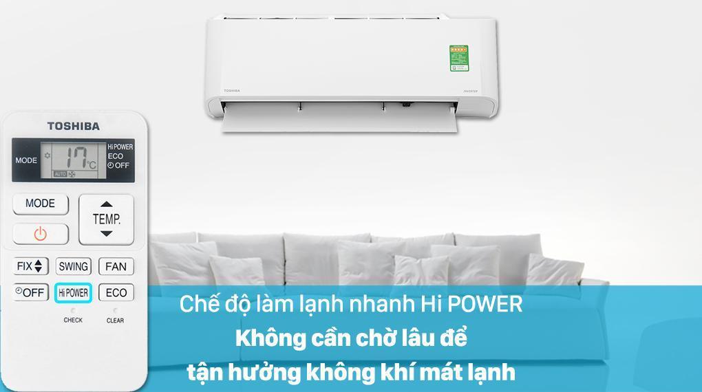 Điều hoà Toshiba RAS-H13C3KCVG-V có chế độ Hi Power cho căn phòng lạnh siêu tốc