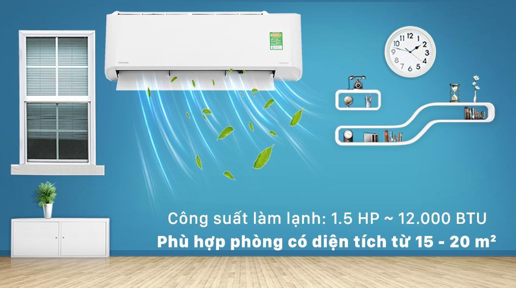 Thiết kế với công suất 1.5 HP, phù hợp cho căn phòng diện tích từ 15 - 20 m2