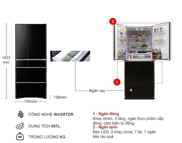Tủ lạnh Hitachi R-G620GV XK mô tả chi tiết sản phẩm