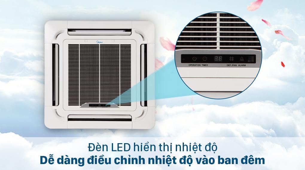Điều hoà âm trần Midea MCD-24CRDN8 có đèn LED hiển thị nhiệt độ quan sát và điều chỉnh dễ dàng hơn ngay cả khi trời tối
