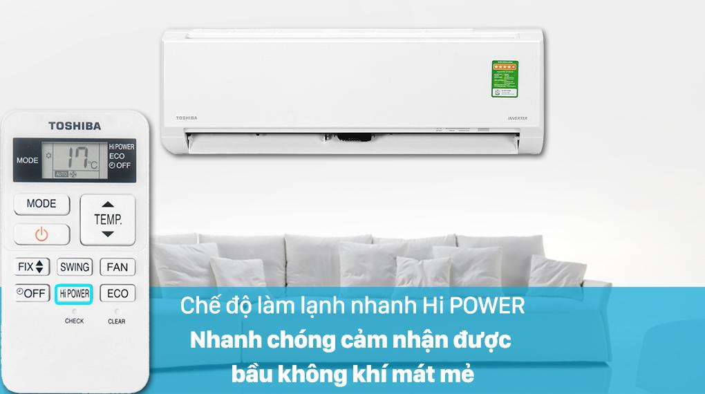 Sản phẩm được trang bị chế độ Hi POWER cho không khí mát lạnh hết sức nhanh chóng