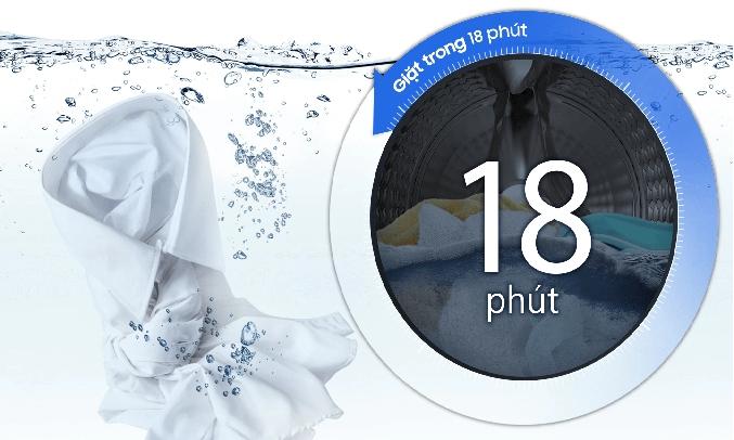 Máy giặt Samsung WW80T3020WW giặt siêu nhanh chỉ 18 phút