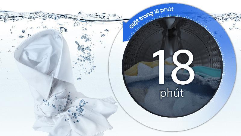 Máy giặt Samsung WW90T3040WW Thời gian giặt nhanh chỉ 18 phút