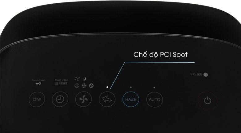 Chế độ PCI Spot - Lloại bỏ vi khuẩn, ẩm mốc và mùi hôi có trong không khí - Máy lọc không khí Sharp FP-J60E-W