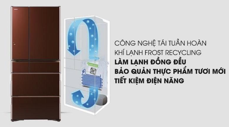 Tủ lạnh Hitachi R-G570GV XT công nghệ tái tuần hoàn khí lạnh