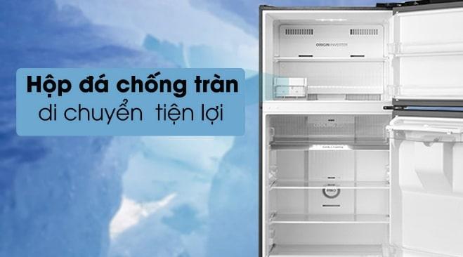 Tủ lạnh Toshiba GR-RT395WE-PMV(06)-MG hộp đá chống tràn di chuyển thuận lợi