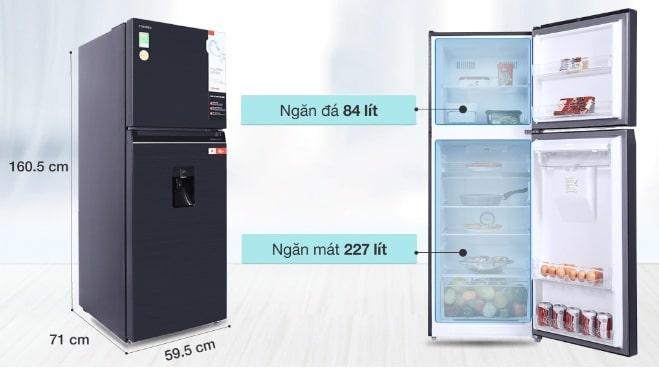 Tủ lạnh Toshiba GR-RT395WE-PMV(06)-MG dung tích phù hợp cho gia đình có từ 3-4 thành viên