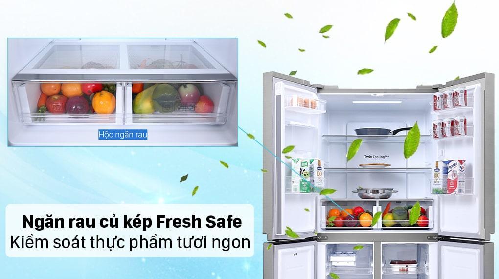 ngăn rau củ kép Fresh Safe kiểm soát thực phẩm tươi ngon