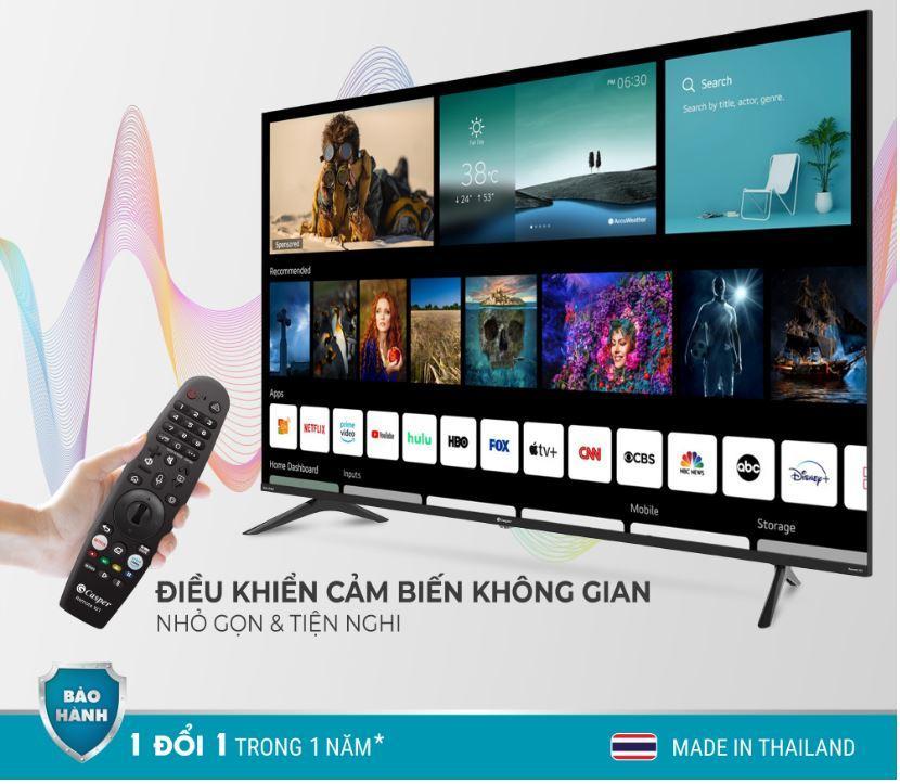 Tivi Casper 55UW6000 với điều khiển tìm kiếm bằng giọng nói tiếng việt tiện lợi