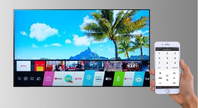 Tivi LG 55NANO86TPA điều khiển tivi bằng điện thoại với LG TV Plus
