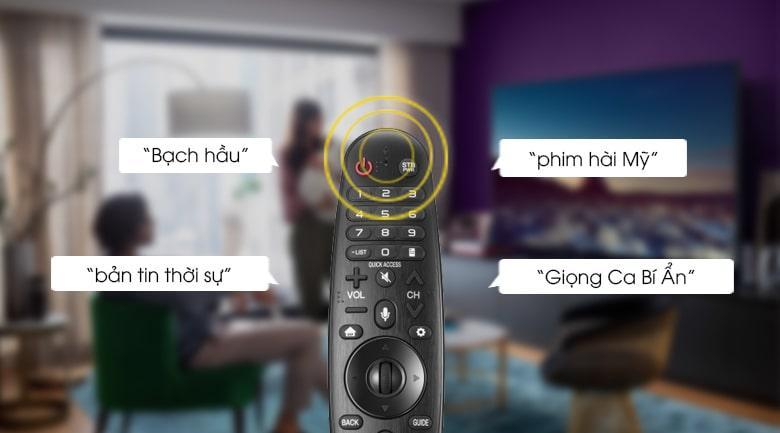 Tivi LG OLED 77C1 tìm kiếm giọng nói có hỗ trợ tiếng việt