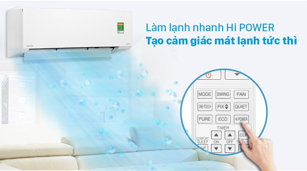 Khi chế độ Hi Power kích hoạt trên Điều hoà Toshiba RAS-H10E2KCVG-V thì phòng bạn sẽ được làm lạnh siêu tốc