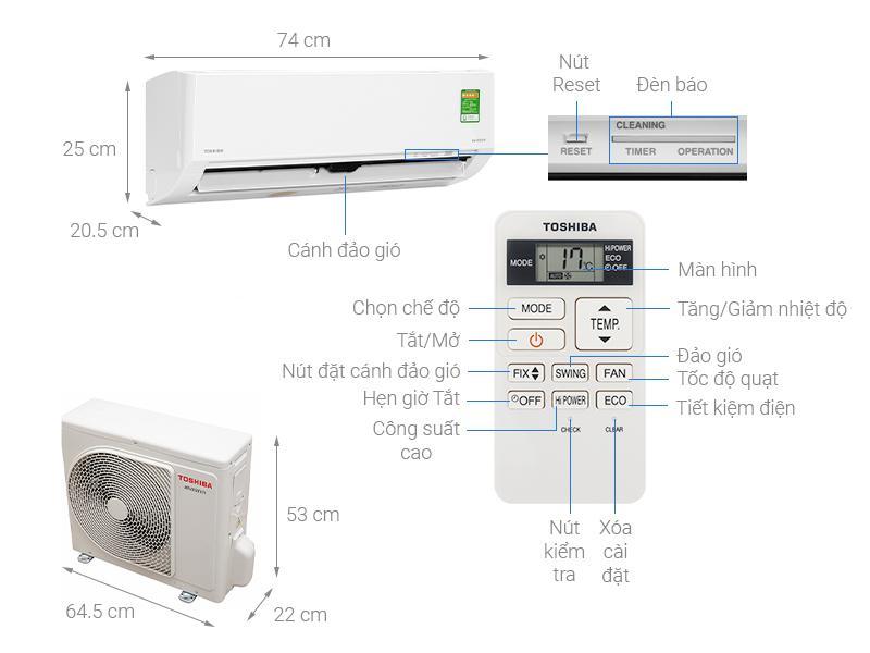 Điều hoà Toshiba RAS-H10L3KCVG-V Inverter 9000BTU