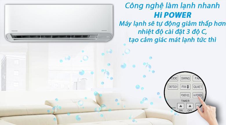 Công nghệ làm lạnh nhanh Hi Power giúp Điều hoà Toshiba RAS-H18C3KCVG-V làm lạnh tức thì