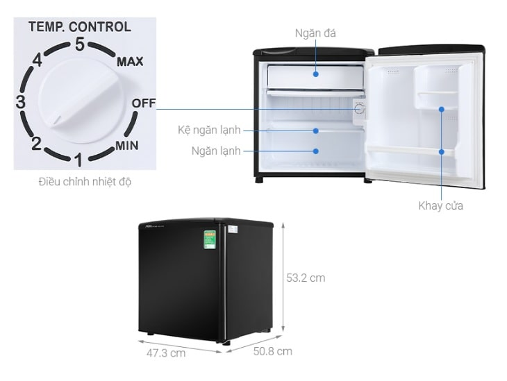 Tủ lạnh Aqua AQR-D59FA (BS) mô tả chi tiết sản phẩm