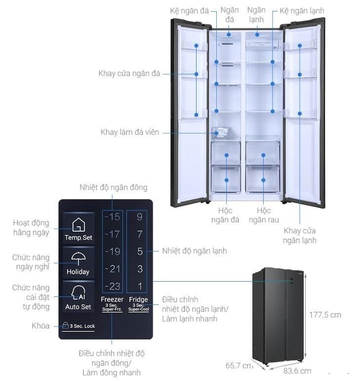 Tủ lạnh Aqua AQR-S480XA (BL) mô tả chi tiết sản phẩm