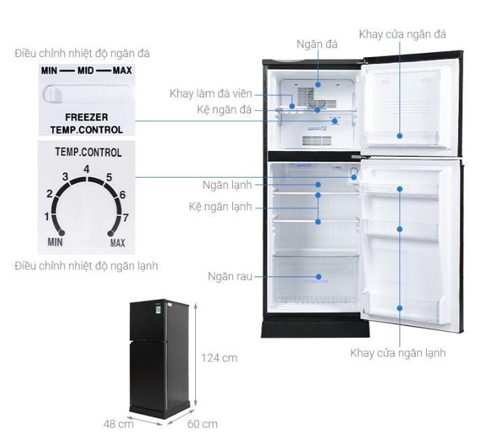 Tủ lạnh Aqua AQR-T150FA (BS) 130 lít