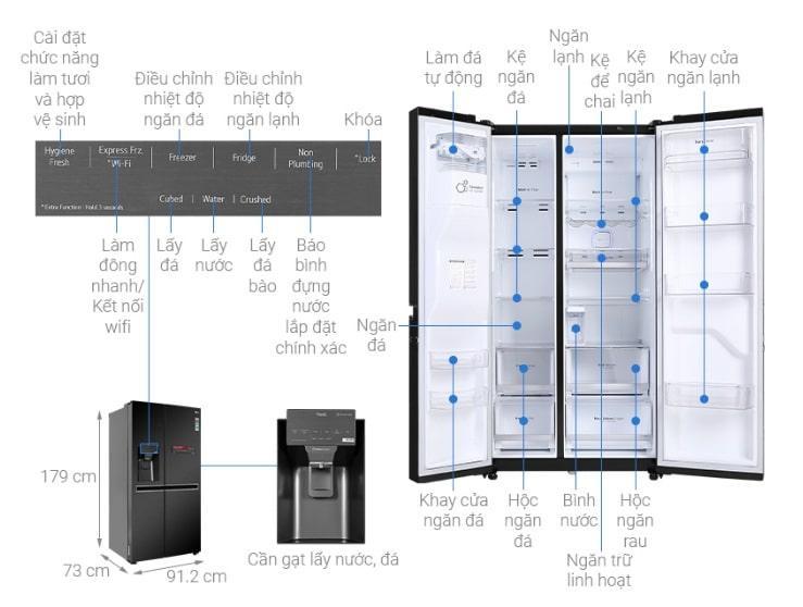 Tủ lạnh LG GR-D247MC mô tả chi tiết